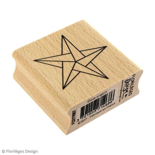 Tampon bois Modern christmas (Noël) - Etoile origami - 50 x 50 mm - Photo n°2