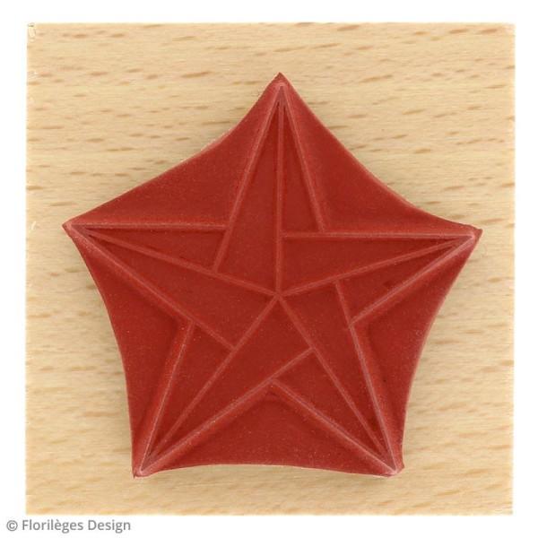Tampon bois Modern christmas (Noël) - Etoile origami - 50 x 50 mm - Photo n°3