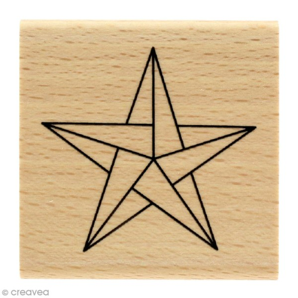 Tampon bois Modern christmas (Noël) - Etoile origami - 50 x 50 mm - Photo n°1