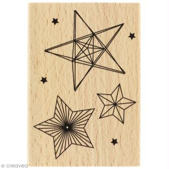 Tampon bois Modern christmas (Noël) - Trois étoiles - 70 x 100 mm