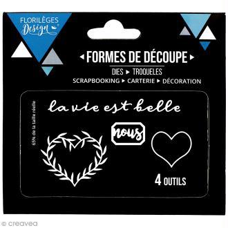 Die Florilèges Design - Coeur à feuillages - 4 pcs