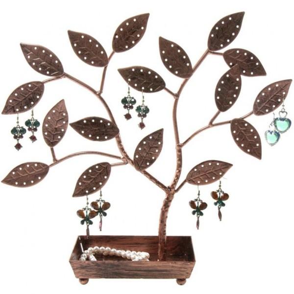 Porte bijoux arbre à boucle d'oreille pot (60 paires) Cuivre patiné - Photo n°1