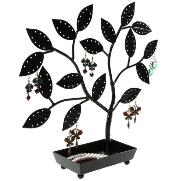 Porte bijoux arbre à boucle d'oreille pot (60 paires) Noir - Photo n°2