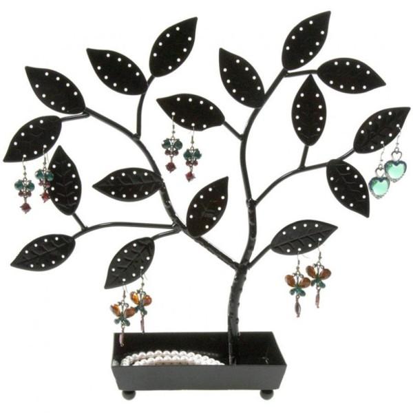 Porte bijoux arbre à boucle d'oreille pot (60 paires) Noir - Photo n°1