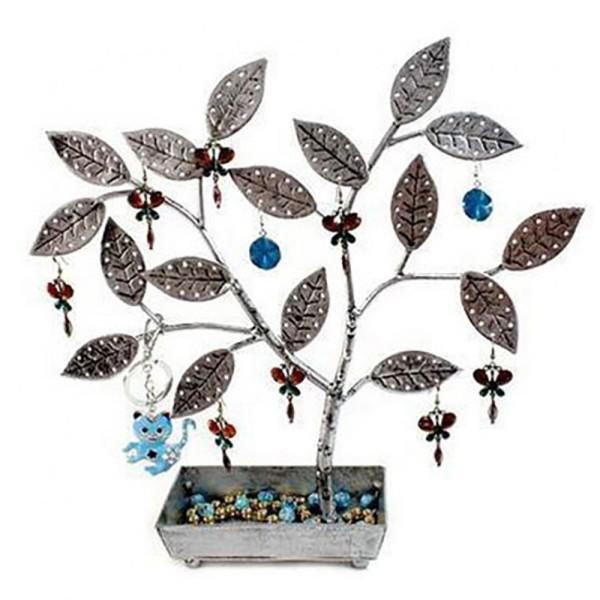 Porte bijoux arbre à boucle d'oreille pot (60 paires) Gris patiné - Photo n°1