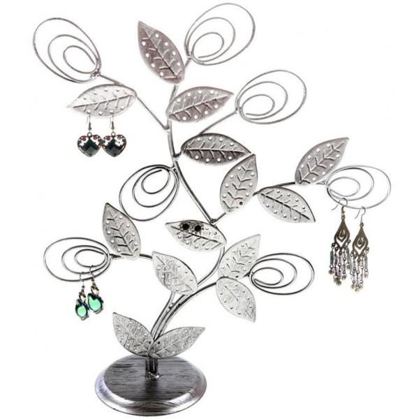 Porte bijoux arbre à boucle d'oreille original tree (60 paires) Gris patiné - Photo n°1