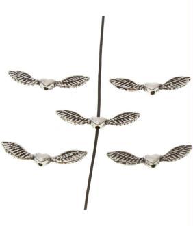 Perles fantaisie ailes d'ange (5 pièces) - marque presentoirs-pour-bijoux Argenté