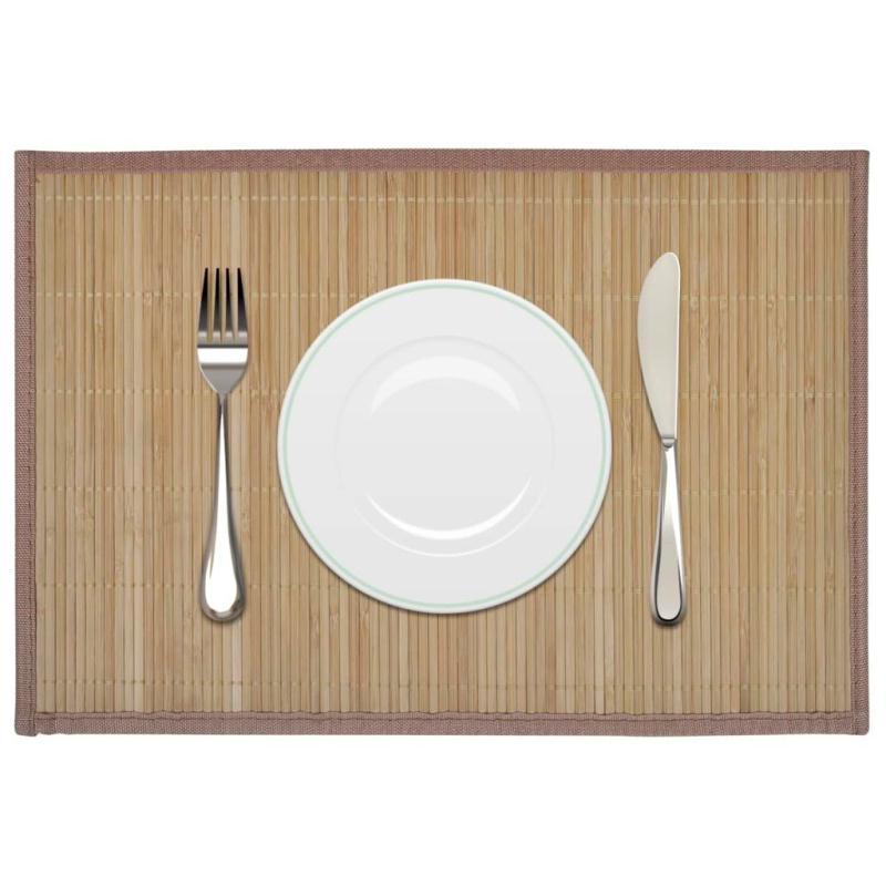 6 napperons en bambou 30 x 45 cm brun set de table creavea for Bambou en interieur