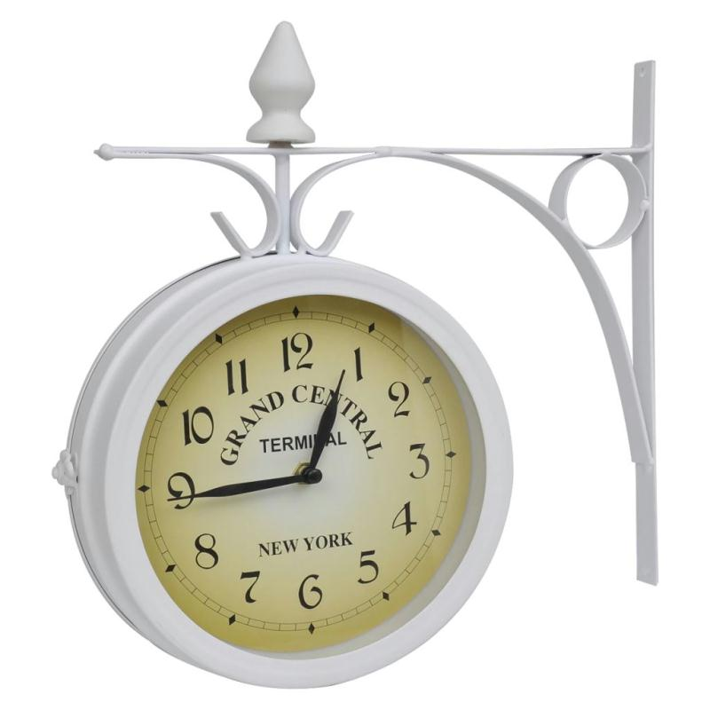 Horloge de gare blanche retro double face new york - Grande horloge murale blanche ...