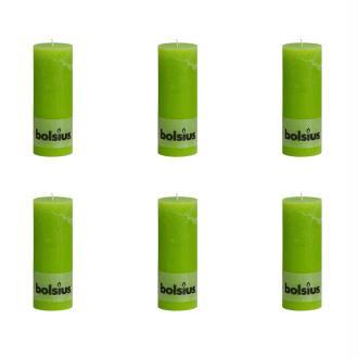Bolsius bougie cylindre 6 pièces 190 x 68 mm en vert