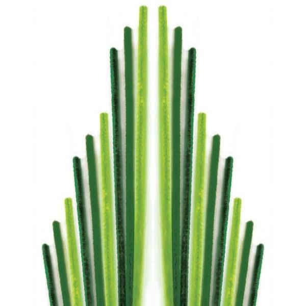 Assortiment fil chenille Tons verts 50 cm - Lot de 10 - Photo n°1