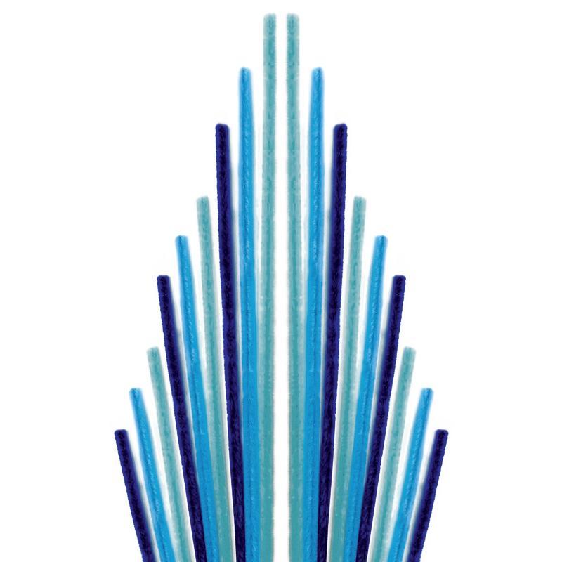 Assortiment fil chenille Tons bleus 50 cm - Lot de 10 - Photo n°1