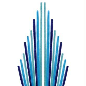 Assortiment fil chenille Tons bleus 50 cm - Lot de 10