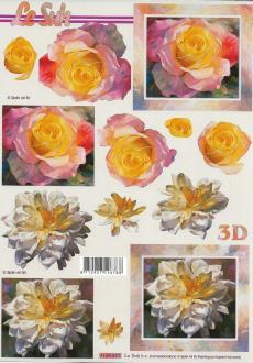 Feuille 3D à découper A4 Fleurs Rose