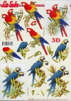 Feuille 3D à découper A4 Perroquet Ara Oiseau
