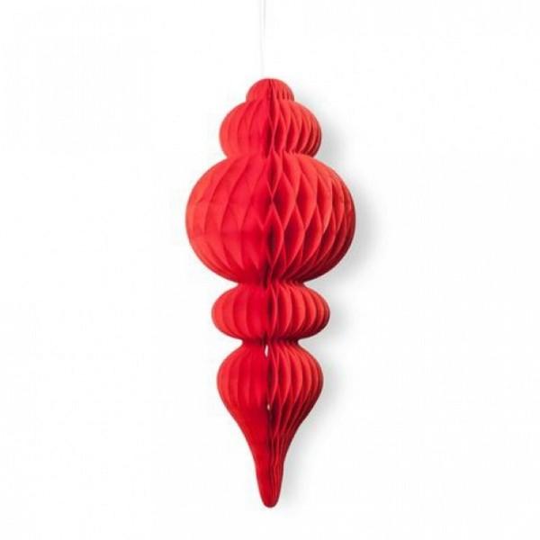 Maxi Suspension forme Lustre en Papier alvéolé Rouge, 50 x 10 cm, Pampille  pour décorer - Photo n°1
