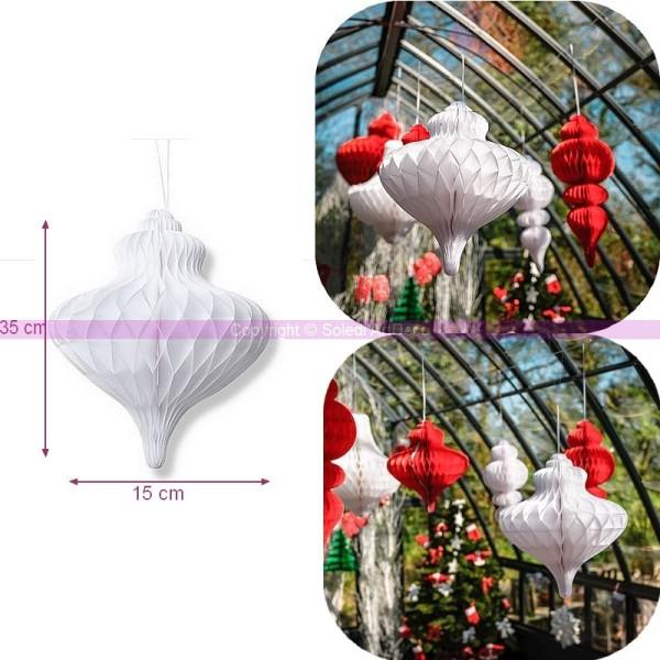 Suspension forme Lustre en Papier alvéolé Blanc, dim.35 x 15 cm, pour une déco chic et élégante - Photo n°1