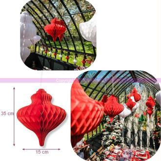 Suspension forme Lustre en Papier alvéolé Rouge, dim.35 x 15 cm, pour une déco