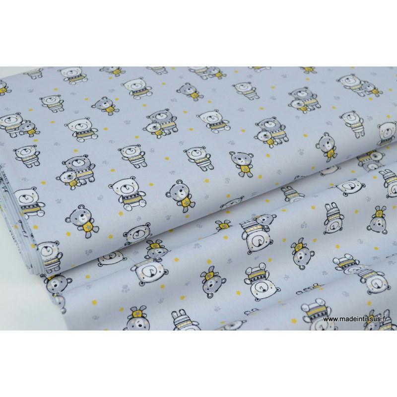 popeline coton nounours gris et jaune moutarde fond gris x1m tissu fantaisie creavea. Black Bedroom Furniture Sets. Home Design Ideas