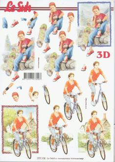 Feuille 3D à découper A4 Jeune Skate Vélo