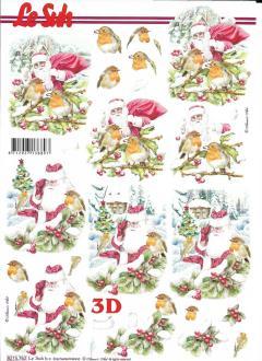 Feuille 3D à découper A4 Père Noël Rouge-Gorge
