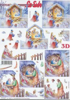Feuille 3D à découper A4 Noël Crèche