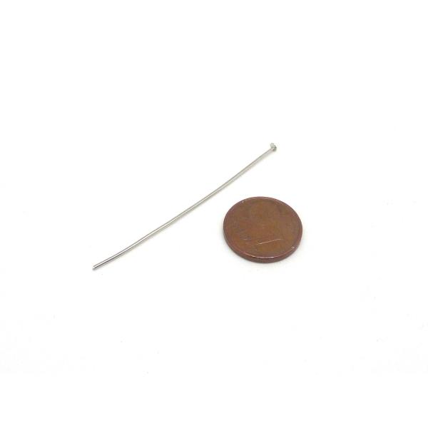 50 Tiges Métalliques Clous À Tête Plate 5cm En Métal Argenté - Photo n°2