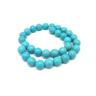 30 Perles 12mm Pierre Naturelle Imitation Turquoise