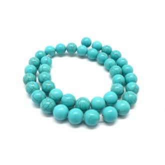 39 Perles 10mm Pierre Naturelle Imitation Turquoise