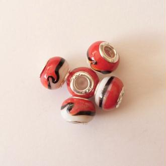 5 perles lampwork céramique style murano 1.4 cm CHAMARE ROUGE BLANC NOIR