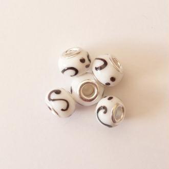 5 perles lampwork céramique style murano 1.4 cm CHAMARE BLANC MARRON