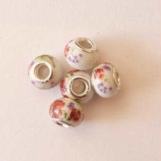 5 perles lampwork céramique style murano 1.4 cm FLEUR GRENAT