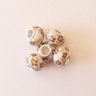 5 perles lampwork céramique style murano 1.4 cm FLEURI MARRON