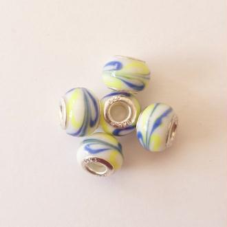 5 perles lampwork céramique style murano 1.4 cm CHAMARE JAUNE BLANC BLEU