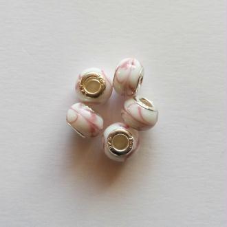 5 perles lampwork céramique style murano 1.4 cm CHAMARE ROSE BLANC