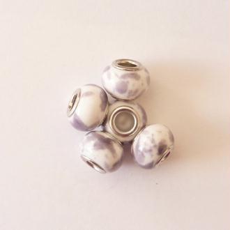 5 perles lampwork céramique style murano 1.4 cm CHAMARE BLANC MAUVE