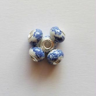 5 perles lampwork céramique style murano 1.4 cm PORCELAINE