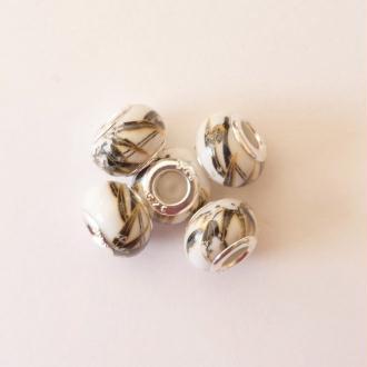 5 perles lampwork céramique style murano 1.4 cm FEUILLAGE NOIR DORE