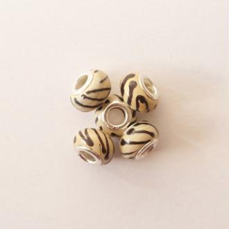 5 perles lampwork céramique style murano 1.4 cm RAYE CREME