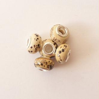 5 perles lampwork céramique style murano 1.4 cm TACHE CREME