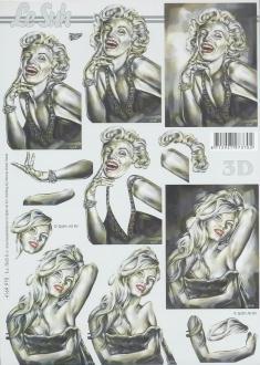 Feuille 3D à découper A4 Marilyn Monroe Brigitte Bardot