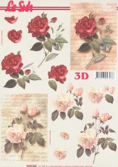 Feuille 3D à découper A4 Fleurs Rose écriture