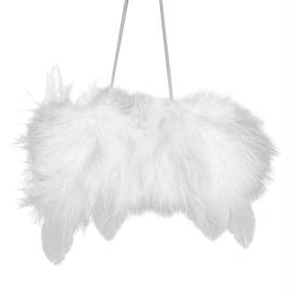 Ailes d'ange en plumes 7cm à suspendre blanches - Lot de 2