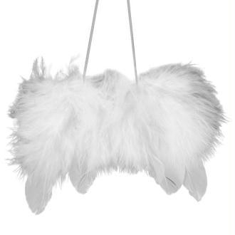 Ailes d'ange en plumes 11cm à suspendre blanches - Lot de 2