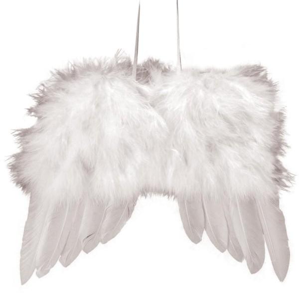 Ailes d'ange en plumes 20cm à suspendre blanches - Photo n°1