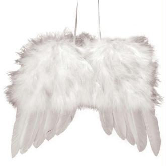Ailes d'ange en plumes 20cm à suspendre blanches