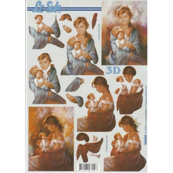 Feuille 3D à découper A4 Mère et Enfant - Photo n°1