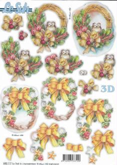 Feuille 3D pré-découpée A4 Décor de Noël Hibou