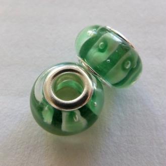 1 perle lampwork verre charm verre de Murano 14 mm VERT BLANC
