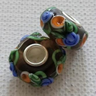 1 perle lampwork verre charm verre de Murano 14 mm FLEURI